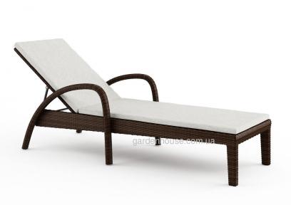Лежак Grazia из искусственного ротанга с матрасом, коричневый