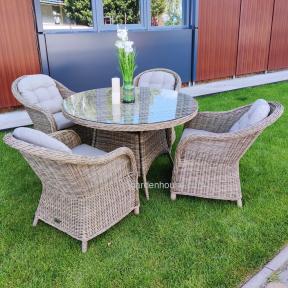 Обеденный комплект Amy из искусственного ротанга: стол Ø 120 см и 4 кресла