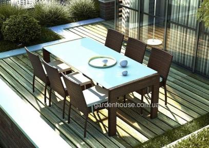 Обеденный комплект Prato & Mina из искусственного ротанга: стол 200 см и 6 стульев без подлокотников