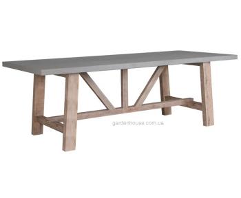Садовый стол Sandstone из композитного камня и массива акации 220 см