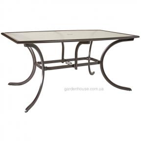 Прямоугольный садовый стол Montreal со стеклом 152,4*96,5*71 см