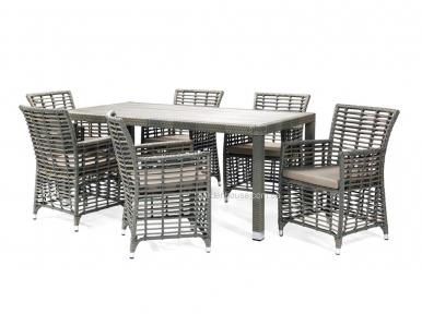 Обеденный комплект садовой мебели Zenica: стол и 6 кресел из искусственного ротанга, серый