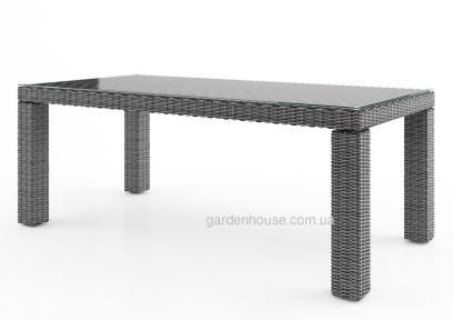 Обеденный стол Rapallo из искусственного ротанга со стеклом, 200 см