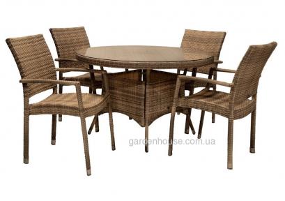 Обеденный набор мебели Wicker на 4 человека из искусственного ротанга