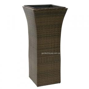 Садовая ваза Wicker из техноротанга 45х45х103 см (коричневый, черный)