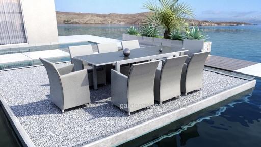 Обеденный комплект мебели на 8 персон: раздвижной стол Toledo и кресла Merida из алюминия