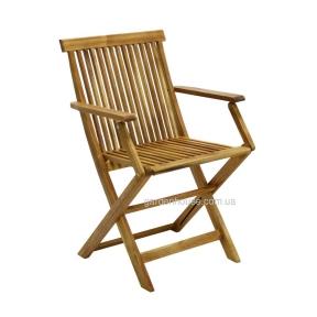Складной садовый стул с подлокотниками Finlay из дерева акации