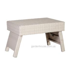 Вспомогательный столик Stella из искусственного ротанга, белый