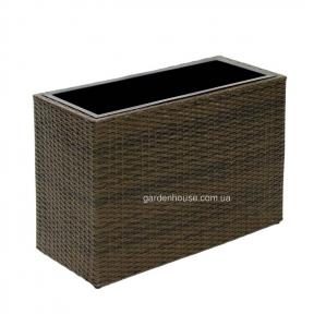 Плетеное кашпо для цветов Wicker из техноротанга 68x30x46 см (коричневый, черный)