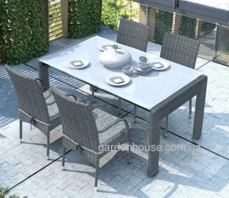 Обеденный комплект Prato & Tramonto Royal из искусственного ротанга: стол 160 см и 4 стула