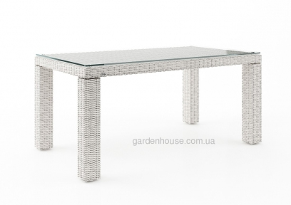 Обеденный стол Rapallo из техноротанга со стеклом, 160 см