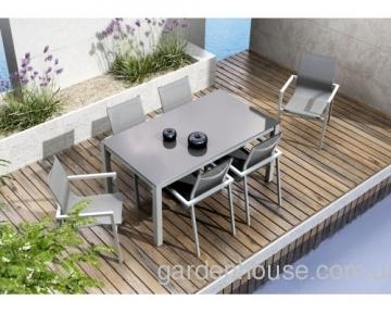 Обеденный комплект мебели из алюминия: стол Oviedo Ø 160 см и 6 стульев Alicante