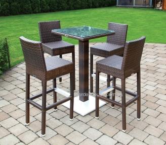 Комплект барный: стол Quadro 110 см и 4 стула Sondrio из искусственного ротанга, коричневый