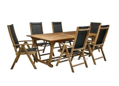 Обеденный комплект мебели Future из массива акации и текстилена
