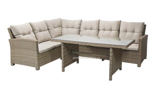 Столовый комплект с угловым диваном Berkeley из искусственного ротанга