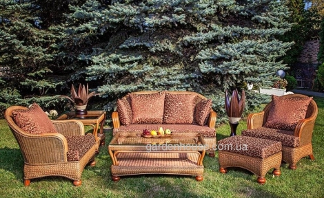 Комплект для террасы с 2-х местным диваном Estana Premium из натурального ротанга