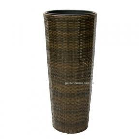Плетеная ваза Wicker из искусственного ротанга Ø 45 см (коричневый, черный)