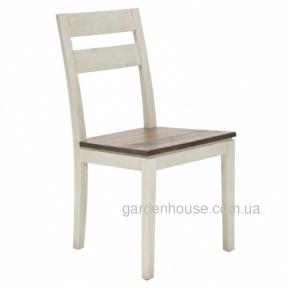 Обеденный стул Berit из дерева манго, белый с коричневым