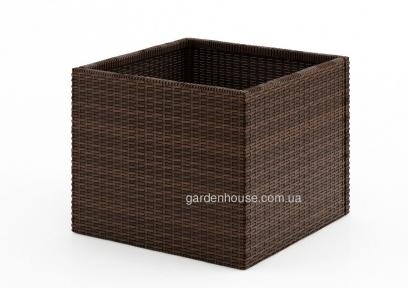 Цветочное кашпо Rubic из техноротанга 50х50х40 см, коричневый