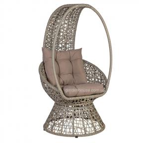 Лаунж-кресло Pangolin из искусственного ротанга, серо-бежевый