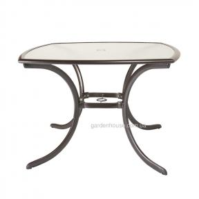 Квадратный садовый стол Montreal со стеклом 106,6*71 см, бронзовый