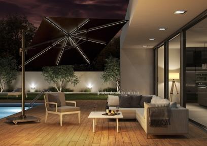 Садовый зонт с подсветкой SolarFlex T2 3х3 м + основание Modena (коричневый, антрацит)