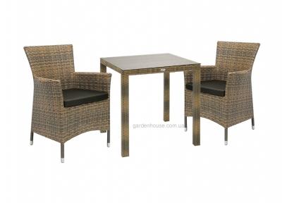 Двухместный столовый комплект Wicker из искусственного ротанга  в ассортименте