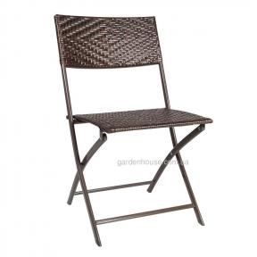 Складной садовый стул Nico из искусственного ротанга, темно-коричневый