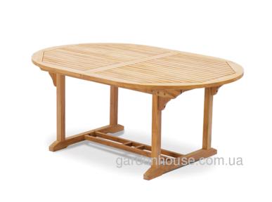 Обеденный овальный стол Bormio из тика, раскладной