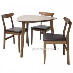 Комплект столовый Trio с треугольным столом из каучукового дерева
