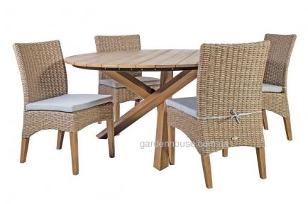 Набор садовой мебели Henry: стол и 4 стула из искусственного ротанга, бежевый