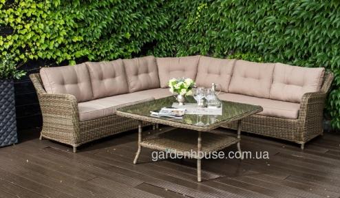Угловой диван Бильбао с кофейным столиком из искусственного ротанга, капучино
