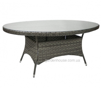 Обеденный овальный стол Geneva из искусственного ротанга, серый