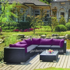 Модульный угловой комплект мебели Genoa из искусственного ротанга, графит