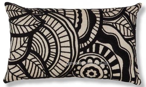 Интерьерная прямоугольная подушка Minimal с черной вышивкой 30x50 см