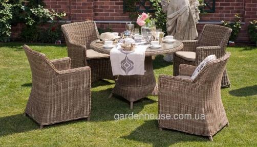Столовый комплект садовой мебели Рикконе из искусственного ротанга, капучино