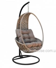 Кресло плетенное подвесное Pangolin из техноротанга, серо-бежевый