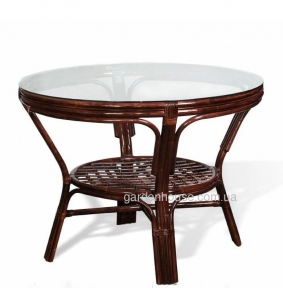 Стол обеденный круглый из натурального ротанга Ø104 см