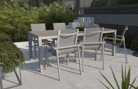 Столовый комплект Oviedo Stone & Wood: стол и 6 стульев из алюминия и тика