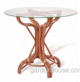 Стол обеденный из натурального ротанга со стеклом Ø 90 см