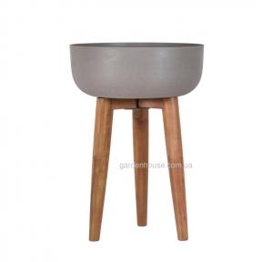 Горшок для цветов Sandstone из композитного камня и массива акации (Ø 40 см, Ø 36,5 см)