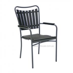 Садовый стул с подлокотниками Sestino из алюминия и артвуда, черный