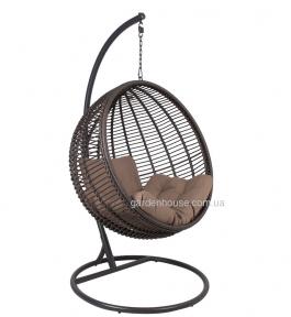 Подвесное кресло Globe из искусственного ротанга, коричневый