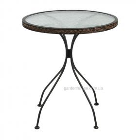 Столик со стеклом Billy 64хh72 см, коричневый