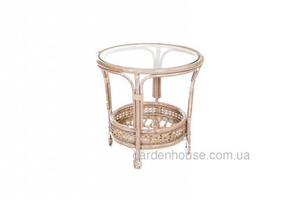 Кофейный столик из натурального ротанга, круглый
