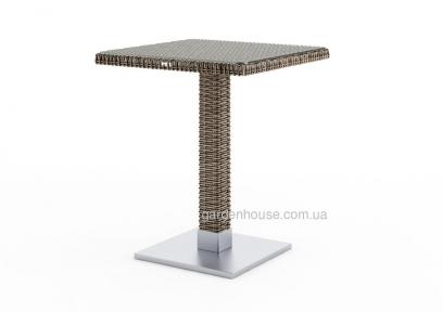 Стол Quadro Royal из искусственного ротанга со стеклом 60х60 см