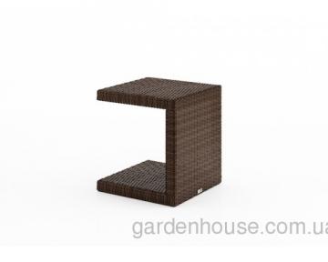 Приставной столик Romeo из искусственного ротанга, коричневый