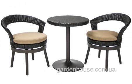 Столовый комплект Stella из искусственного ротанга, темно-коричневый