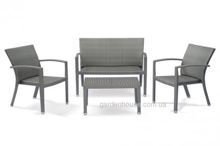 Комплект с двухместным диваном California из искусственного ротанга, серый