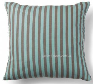 Декоративная подушка в полоску Agua, бирюзово-коричневый